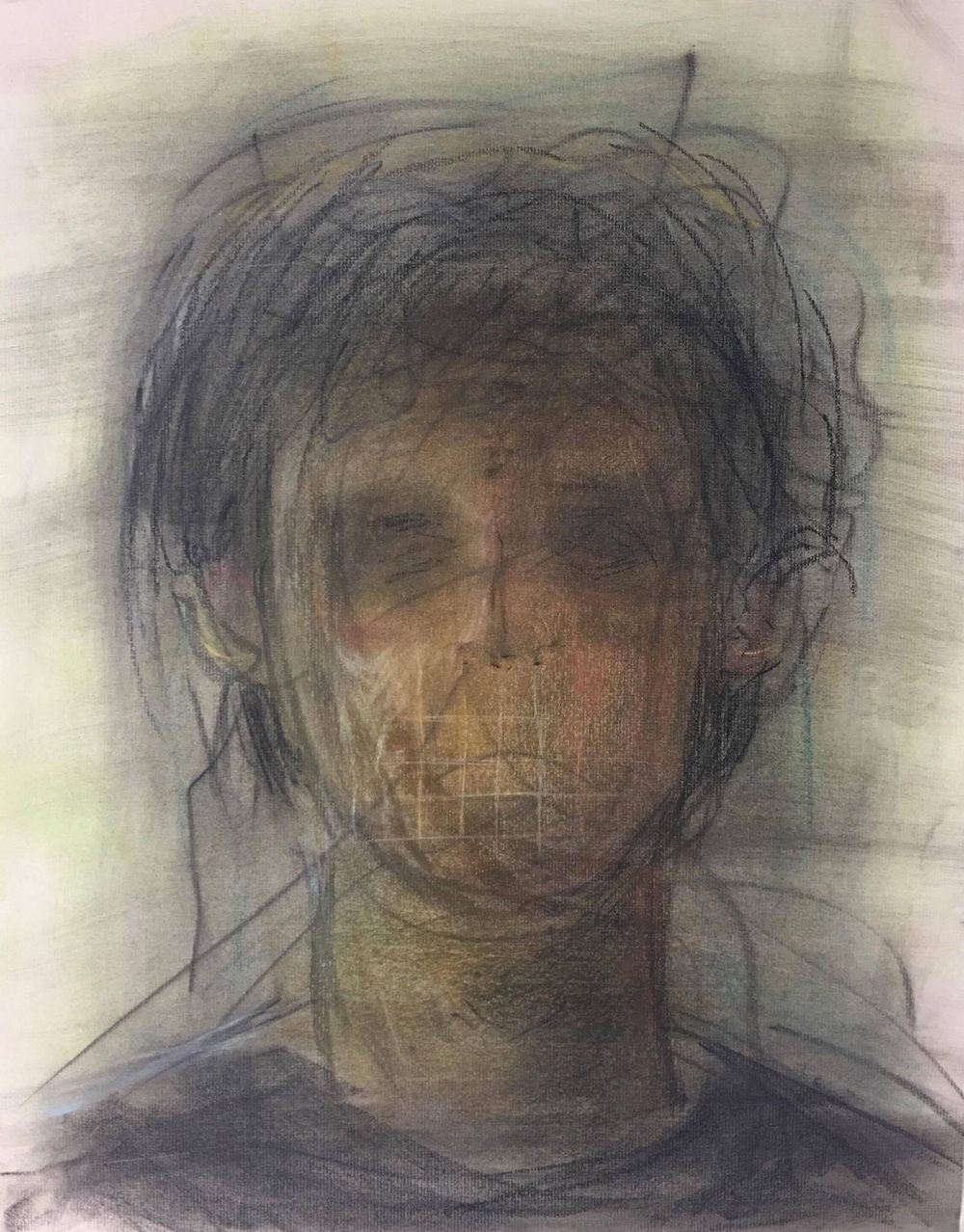 """Self-Portrait."" Self-portrait of the artist, a young man with short brown hair, with distorted face. The beige background is smudged and there are some dark lines, somewhat random in appearance, emanating from the figure. A faint grid pattern is visible over the mouth area."