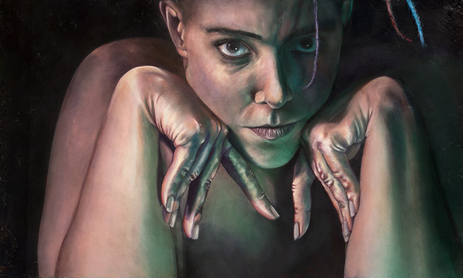 """Hypermobility: Self Portrait."" A mixed media / oil painting. A person of indeterminate gender stares with great intensity from the dark canvas. They are resting their chin on their hands and under this pressure the wrists bend with extreme hypermobility (indicative of a connective tissue disorder) until their crooked fingers press against their inner arm. The portrait is cropped right above the ears and shortly above the elbows, and though the figure is clearly unclothed, their chest is lost in shadows. The image has intense chiaroscuro, with a bright warm light coming from the upper left and a softer blue-green light coming from the lower right, creating a cinematic and somewhat unsettling mood. In places the painting has classical elements, but around the eyes it appears photorealistic."
