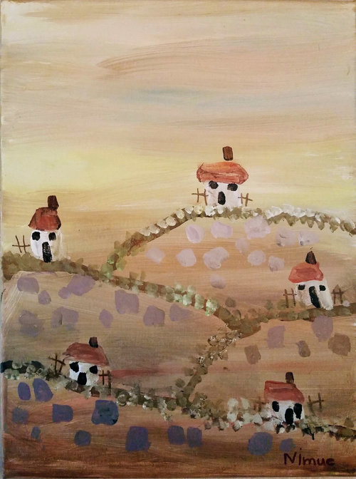 """Bolivian Houses""  An acrylic painting. This painting shows four identical boxy white houses, each on its own hill.  Their doors and windows are arranged so as to resemble little faces looking out in surprise. Squarish blue and gold splotches on the hills reference farmland, and the sky is a subtle blend of golden tones, with broad horizontal strokes resembling layers of cloud.  The painting seems at once primitive and well crafted, with simplified shapes and masterful color and brush handling."