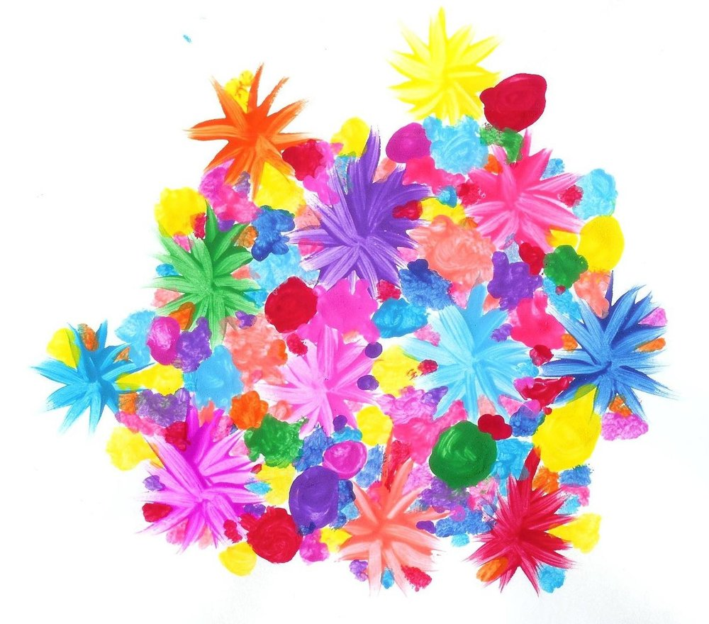 [Image Description: A thick mass of colorful dots and dab-marks are interspersed with expressive single-colored starburst-designs that resemble flowers. The shapes squeeze tightly, expanding out into an irregular form.]