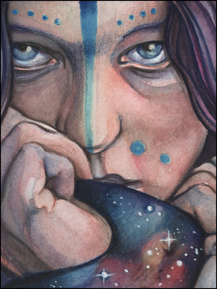"Detail from ""Omniscience,"" watercolor  by Holly Morningstar.  [Image Description: A close up portrait of a feminine-appearing person with darker skin, blue eyes and facial paint, and dark purple hair.  They appear to be pressing a piece of fabric against their cheek and lips, but the fabric is made of the nebulae and stars of space.]"