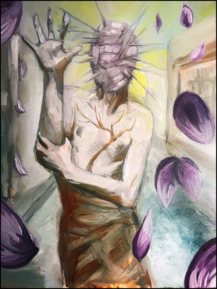 """Cherry Blossom,"" oil painting by Steven Archer.  [Image Description: A figure with a tree tattooed on his chest was walking down the street when his head dissolved into spikes of paint. The sky was yellow that day and the cherry trees were starting to blossom.]"