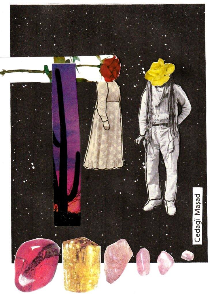(O'Otham) New Moon in Aries.  Mixed media/Collage [ Image description:  The background is the universe (appears as a black background with white stars); the bottom of the collage from left to right are red jasper, yellow topaz and rose quartz; above the rose quartz on the lower right of collage are the words cedai masad (pronounced choo-daw-g maw-shaw-th which means 'leafing of the mesquite moon/month' [the month of March] in the O'Otham language (O'Otham meaning people and pronounced aw-aw-thumb); the center of the collage from left to right, a red rose horizontally extends into/covering the face of an Akimel Otham (meaning river person and pronounced Awk-im-ugh-l [rolled l] aw-thumb) in a long sleeved, ankle length dress, to the left of them is a cactus with the sunset in the background; and finally to the right of them is an Akimel Otham with a yellow rose covering their face, long locs extending to mid-thigh wearing a long sleeved shirt and trousers. ]