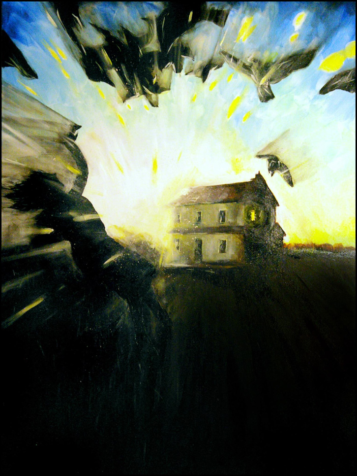 """Light as a Form of Violence #6,"" oil painting by Steven Archer.  [Image Description: A surrealist image with bright light originating behind a house. Silhouettes of birds and a human figure seem thrust backwards by the light.]"