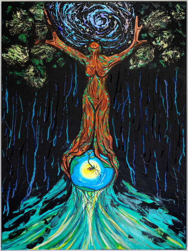 'Ascend: They Thought They Could Bury us They Did Not Know We Are Seeds' by Chrystal Robinson-Shofroth.   [Image Description: Centered against a dark background stands a woman-shaped tree. She encircles the earth with her roots and embraces the spiraling, labyrinthine stars with her branches. Blue streaks like emotive rain fall from her branches into the waves of blue and green that rise to meet her roots. In the golden center of the earth, a heart-shaped seedling sprouts stalk and roots.]