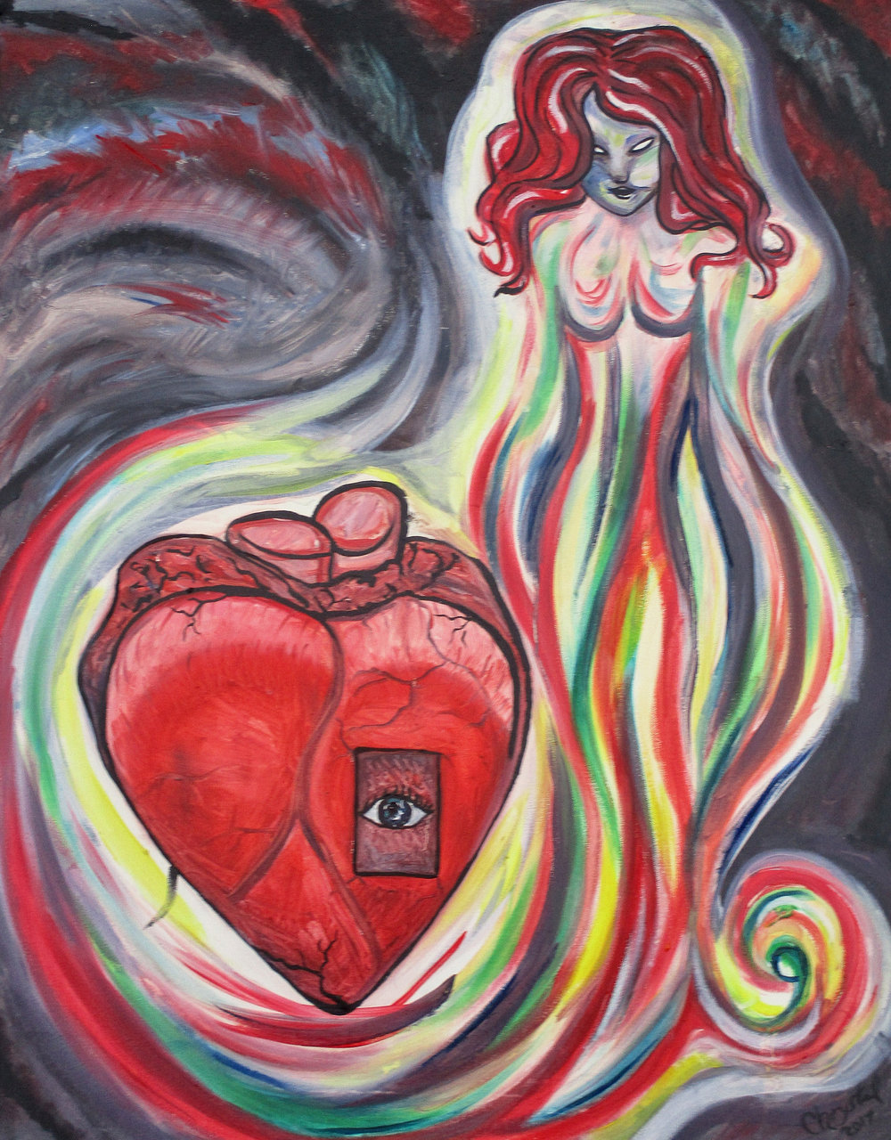 'Doorway Into my Soul' by Chrystal Robinson-Shofroth.   [Image Description: A portrait of the artist as a woman in bright red. Her body dissolves into a multicolored flowing aura, which curls around the page and surrounds her heart. The heart itself is a hybrid of the traditional symbolic heart shape and an anatomically correct organ, as if to represent a dual symbolism of emotion and physical body. A doorway opens in the surface of the heart and an eye pears out. Chaotic darkness overwhelms the edges of the image, pressing against the shadow-blurred edges of the figure and the heart, like the floating tunnel vision of an on-coming stroke.]