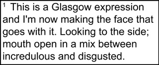 """[Image description: a footnote that reads, """"This a Glasgow expression and I'm now taking the face that goes with it. Looking to the side; mouth open in a mix between incredulous and disgusted.""""]"""