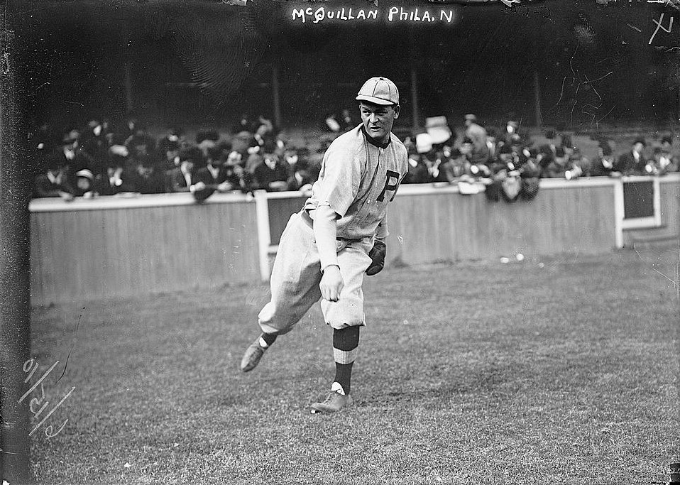 George McQuillan warming up for a game on June 15, 1910, four days after returning to the Phillies from his suspension for alcoholism.