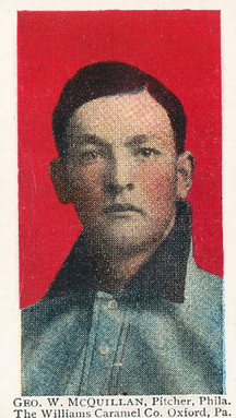 George McQuillan's 1910 baseball card accurately portrays his heterochromia.