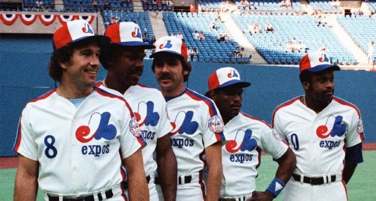 When the Expos hosted the 1982 All-Star Game at Stade Olympique, five Expos made the National League team. From left to right: Gary Carter, Andre Dawson, Steve Rogers, Tim Raines, and Al Oliver.