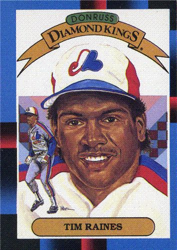 "In 1988, Donruss issued this ""Diamond Kings"" card of Tim Raines, with artwork by Dick Perez."