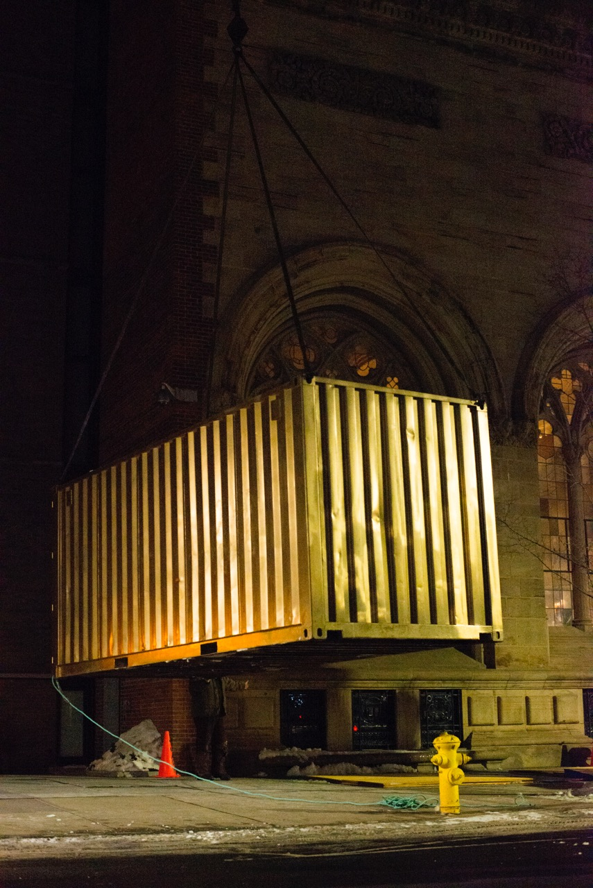 Portal being installed at the Yale University Art Gallery