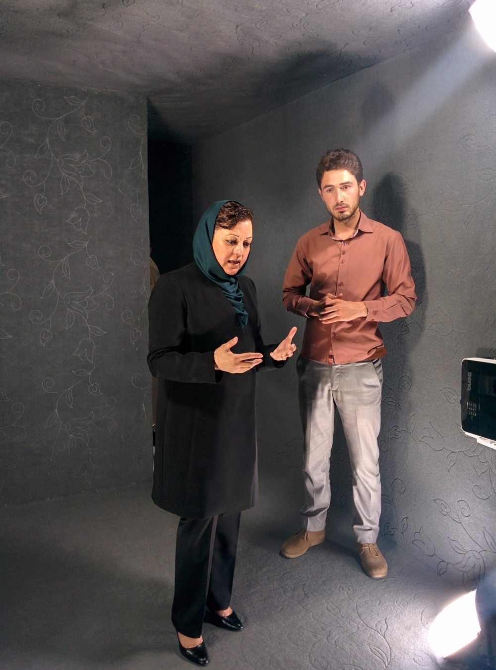 Afghanistan's first chief female prosecutor, Maria Bashir, in the Herat Portal with Omid Habibi speaking to Melanne Verveer in the U.S.