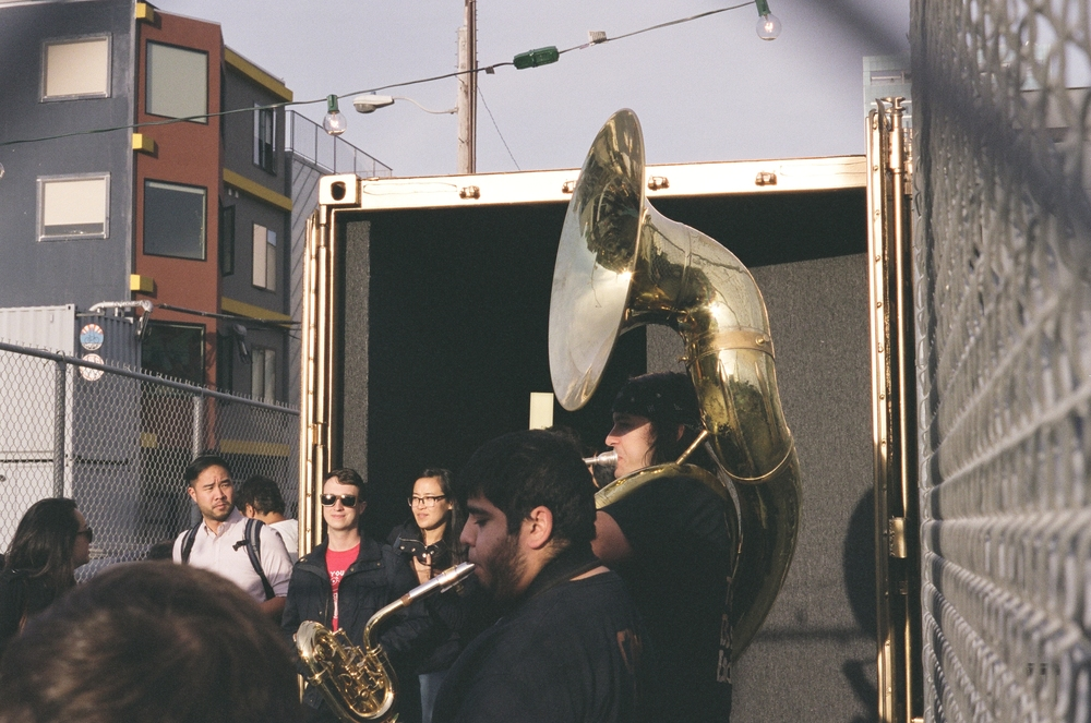 Musicians perform at the San Francisco Portal