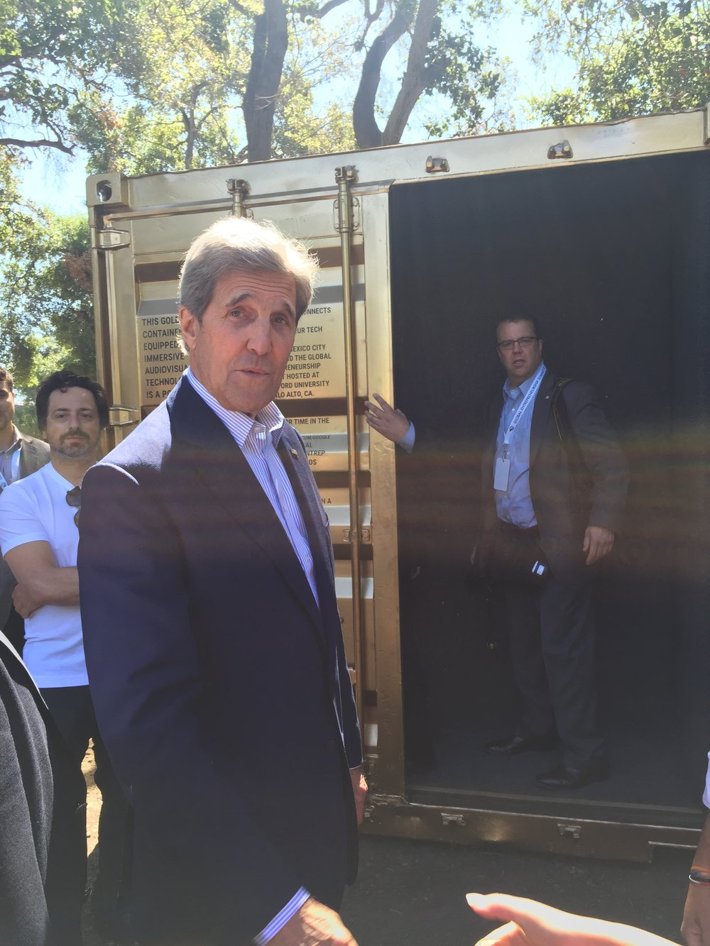 U.S. Secretary of State John Kerry and Google co-founder Sergey Brin outside the Portal at Stanford University