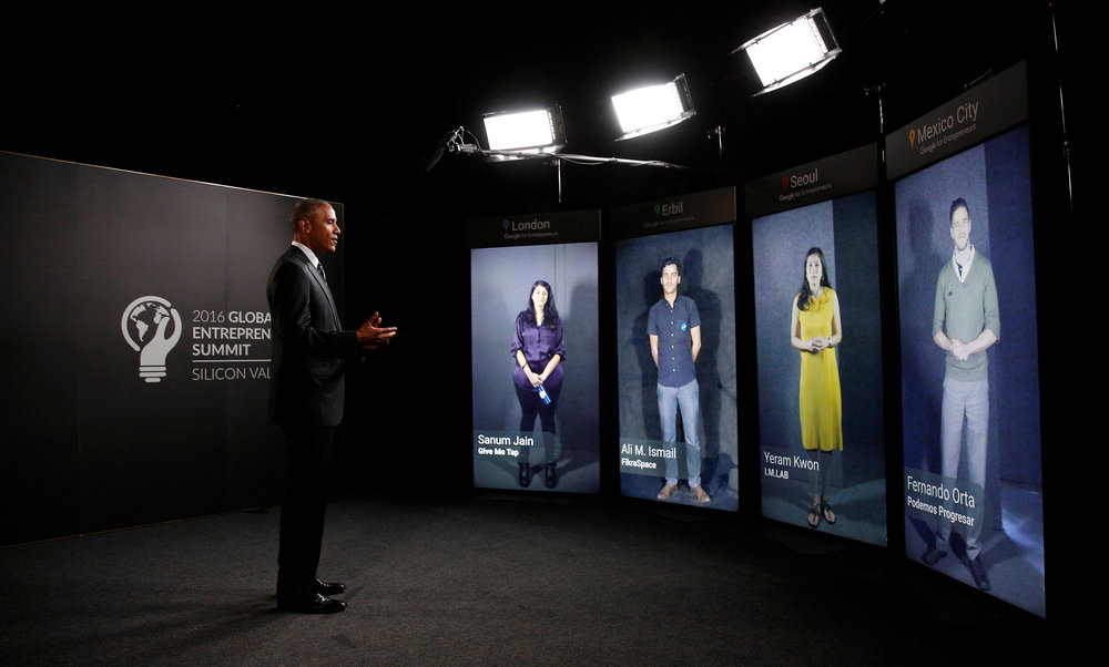 President Barack Obama speaks through Portal Screens with entrepreneurs in London, Erbil, Seoul and Mexico City
