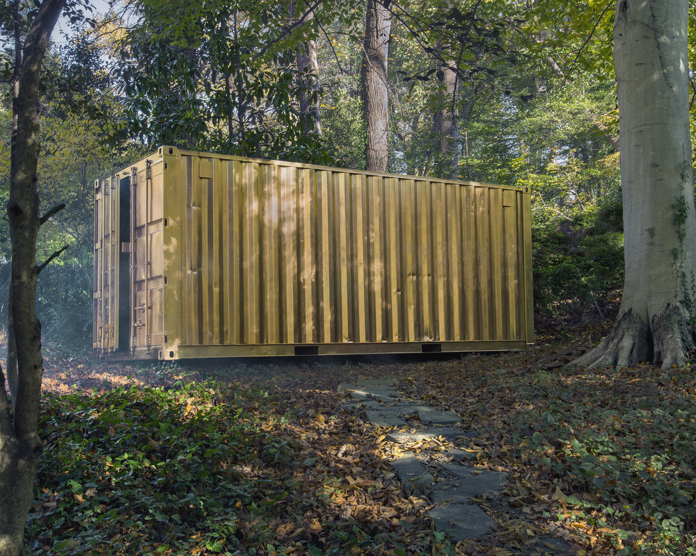 Portal Container - The Portal Container is ideal for high-profile, outdoor installations. It can hold up to 8 people at a time and creates the feeling of being in the same space as someone in an identical gold container somewhere else on Earth. The Portal Container is climate controlled and easily securable.