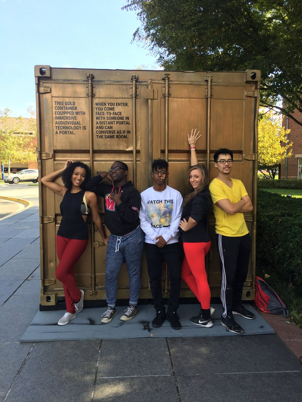 Students from the University of Maryland dance program after performing in their Portal