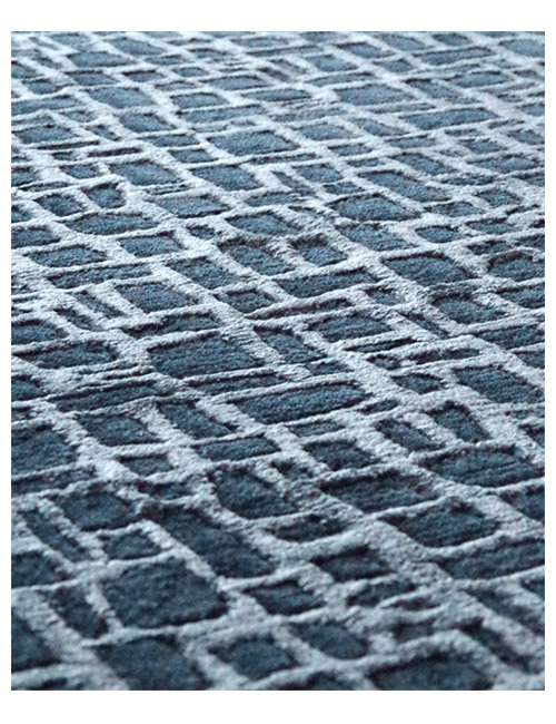 'Metal Screen' rug in Blue. Hand knotted NZ wool and cotton viscose