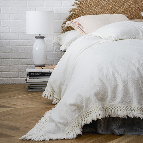 European Collection boheme fringe white quilt cover from  Adairs. Queen was $299.99 now only $179.99 IG:  @adairs