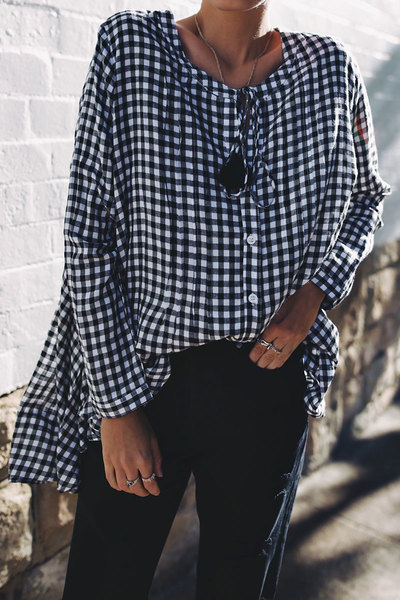 Checks or Gingham. Both in.  This is the  Gingham Billow Sleeve Top  from Bohemian Traders. *Plus size friendly