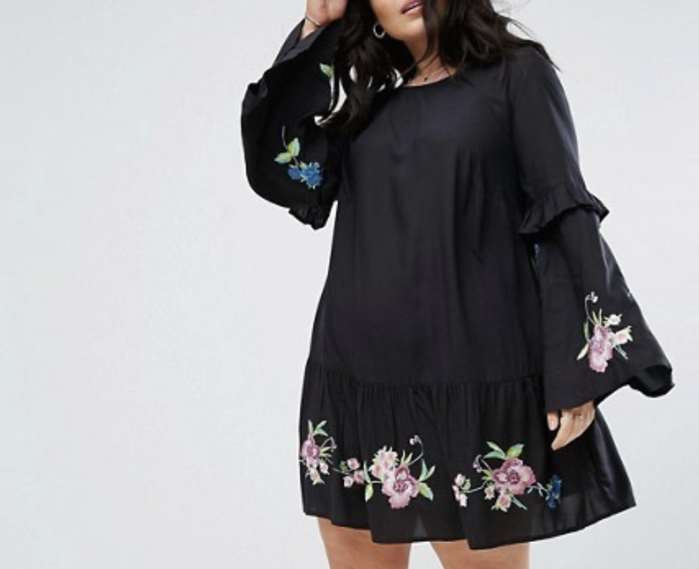 Embroidery, on clothing, shoes, bags, earrings. Get the dress from ASOS. *plus size friendly