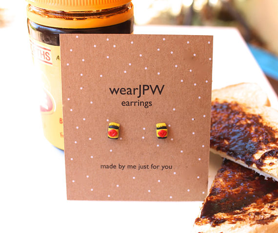 Vegemite earrings. If you're travelling overseas you might want to pack a pair of these to remind you of home. You can also buy Iced Vo Vo's and Bubble O Bills. Find some on Etsy, but these are from  here .