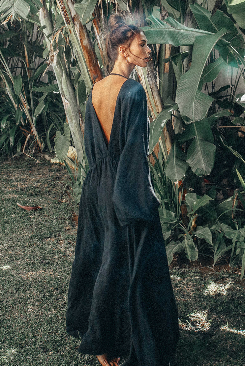 Bohemian Traders backless maxi dress in black. Find it  here.  This is a bit of an investment piece at $219.95, but they do sometimes have the spend & save promotion and Zippay available.