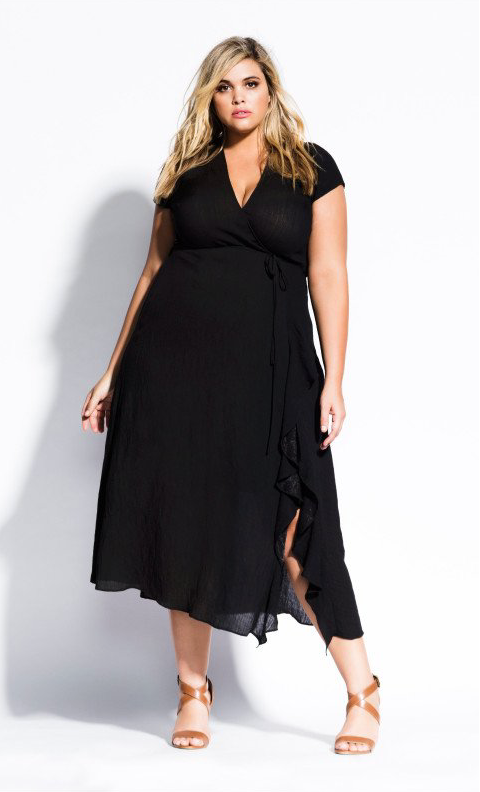 An online exclusive, this 'be free' dress by City Chic is close to The Self Styler's wrap black linen dress that girls are raving about - but not available in plus size. Now you can get it in your size. Get it  here.