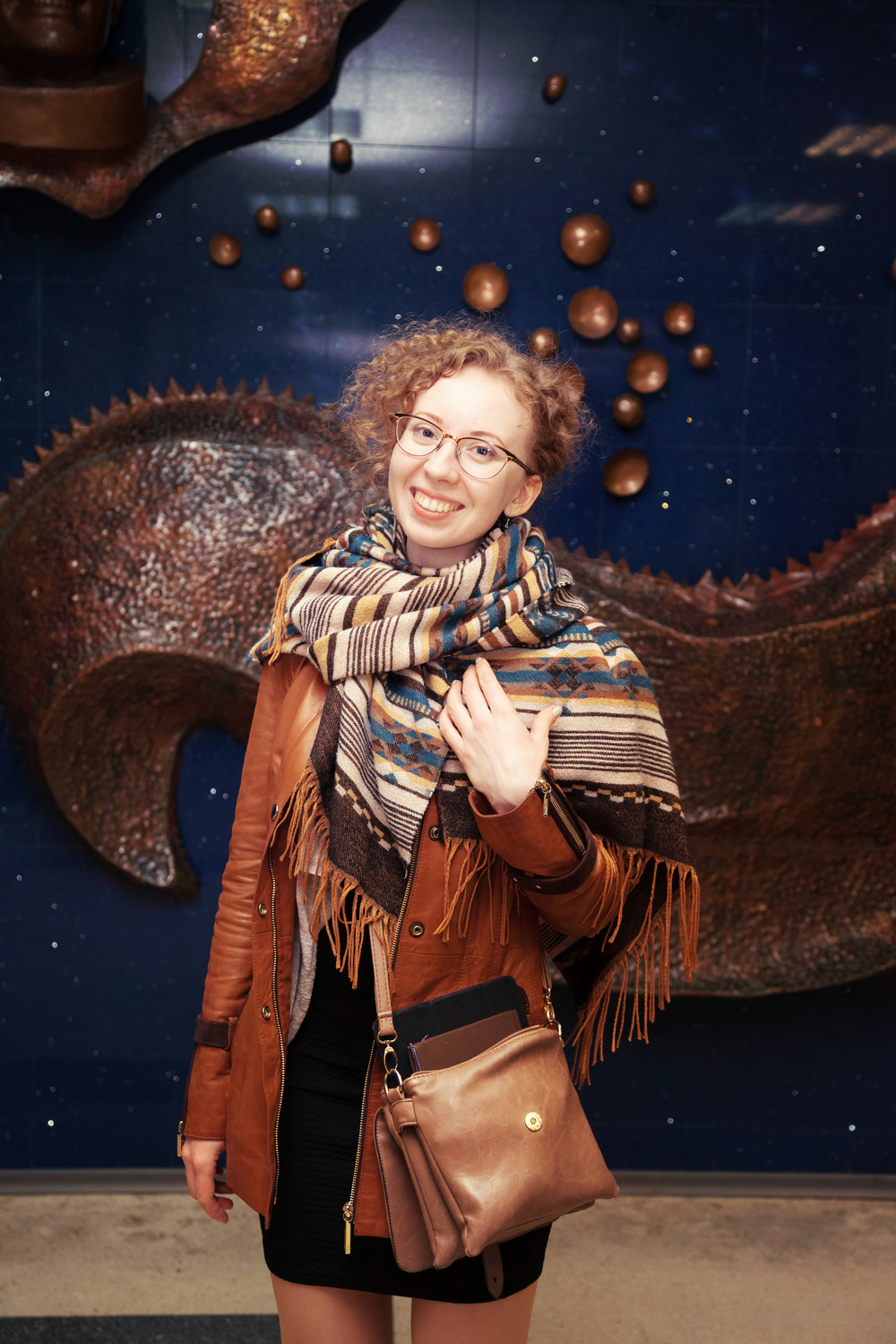 Anastasia Prosochkina at the exhibition in The Cosmonaut Museum, Star City, Moscow (The Cosmonautics day celebration, her space art were exhibited with paintings of the cosmonaut Alexei Leonov)