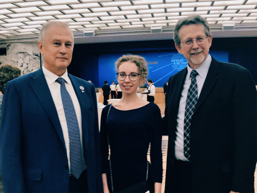 Anastasia Prosochkina with James Green, director of Planetary Science at NASA, and Valentine Uvarov