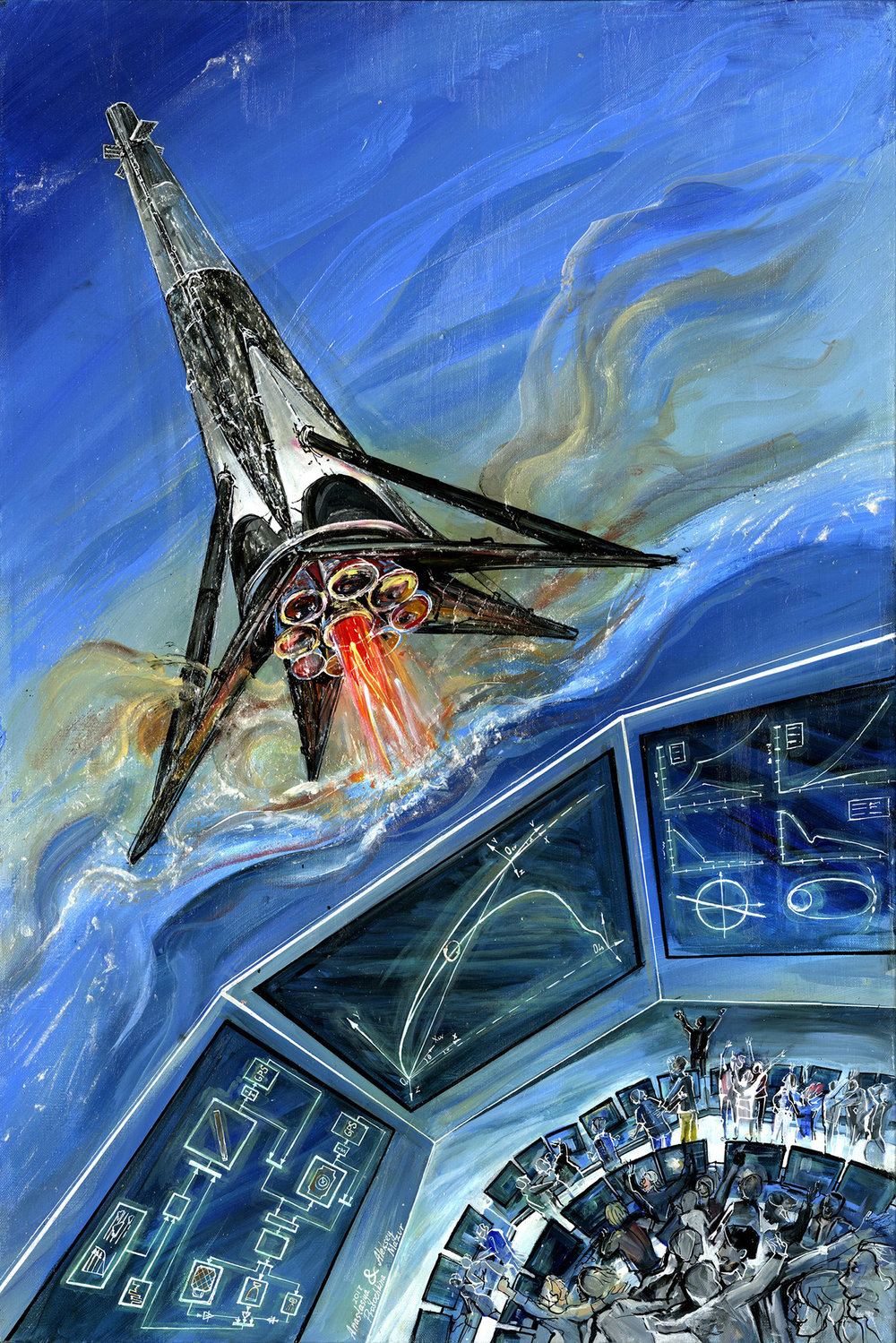 Falcon has landed! - The sophisticated algorithms of automatic control do not appear in the vehicle on their own. No matter how smart the rocket's software is, it can only reflect the skill and talent of those who created it and the ingenuity of human mind. This painting is a tribute to all people who dare to implement challenging technical ideas no matter what.Propulsion, avionics, flight dynamics, software, operations engineers and many others come together to the SpaceX launch control center and watch with almost childlike joy how their creation soars into space, works in space and then returns to the Earth with a phenomenal accuracy.(53x80 cm, acrylic on canvas)