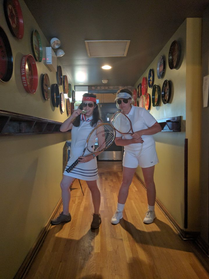 Cynthia and Kyna as Billie Jean King and Bobby Riggs.