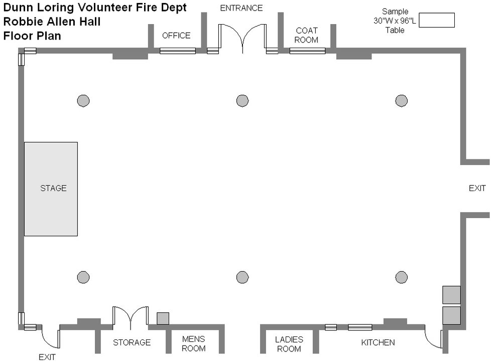 This is the basic (empty) floor plan. The circles represent the pillars holding up the roof. Access to the kitchen is not permitted, without prior approval.