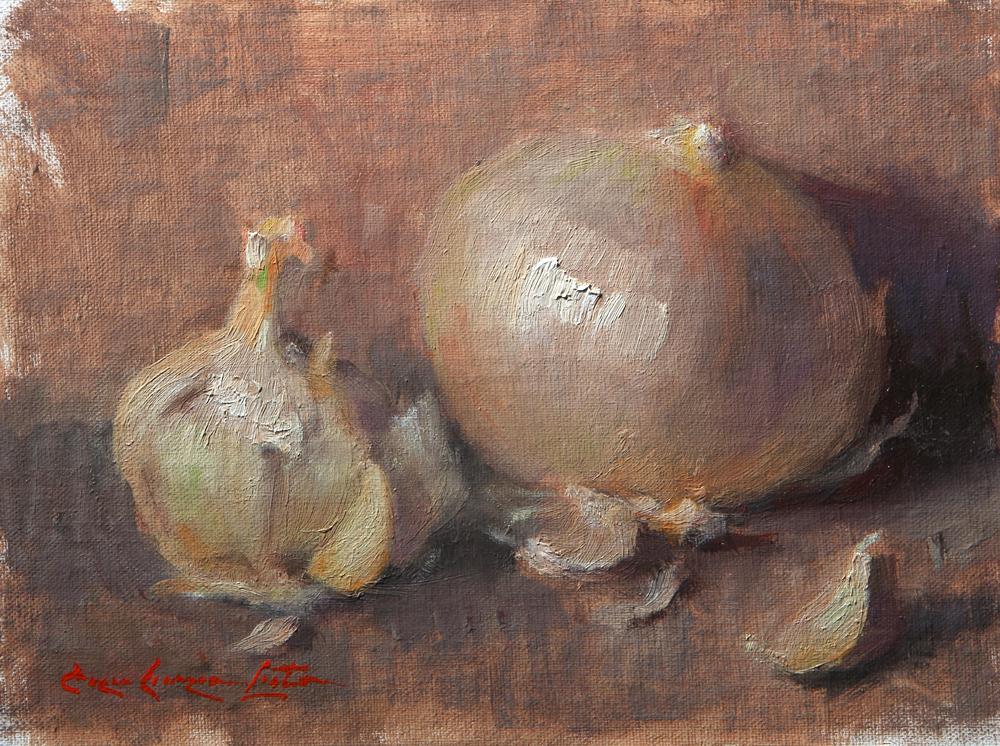 "White Onion & Garlic 6""x8"" Oil on linen mounted to panel"