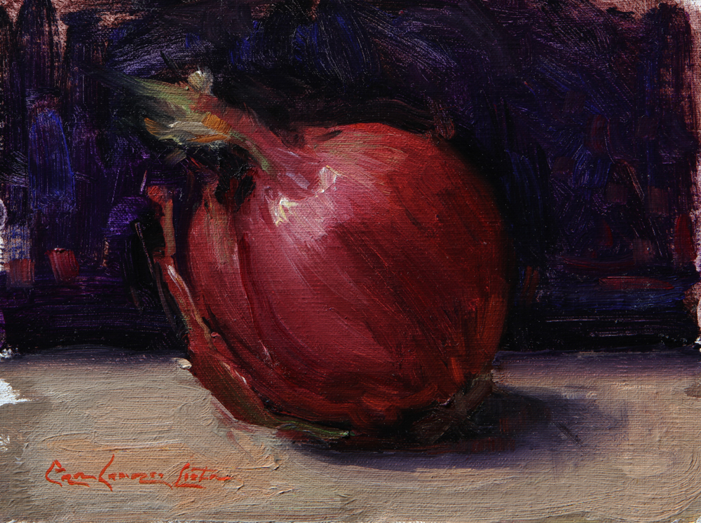 "Red Onion 6""x 8"" Oil on linen mounted to panel"