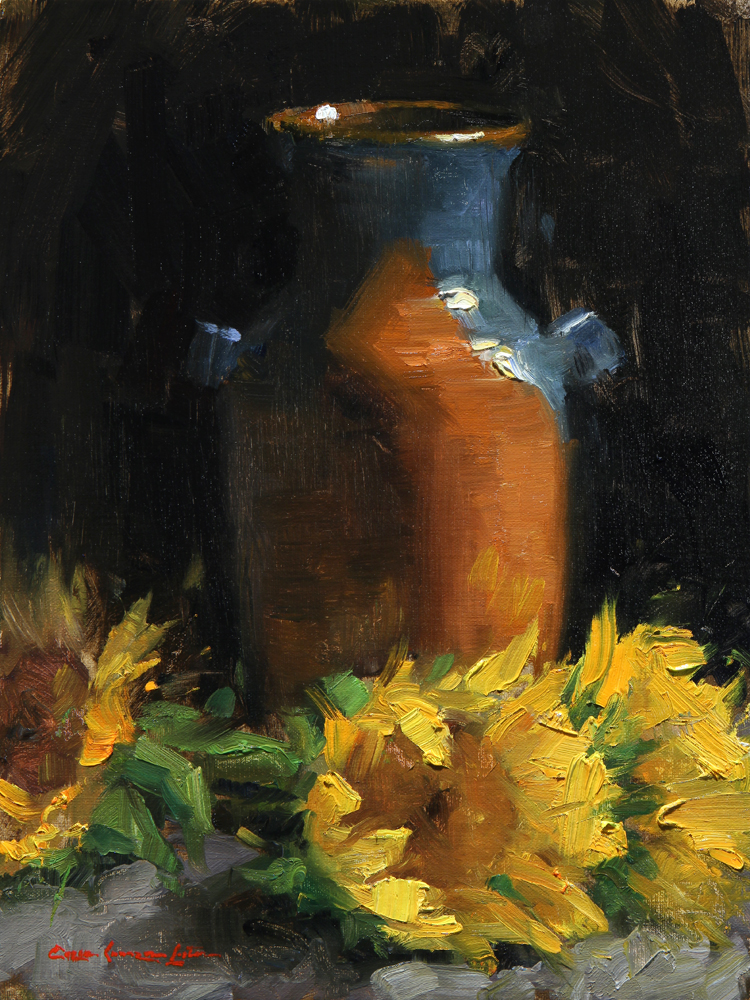 "Sunflowers and Hand-Thrown Pot 12"" x 9"""
