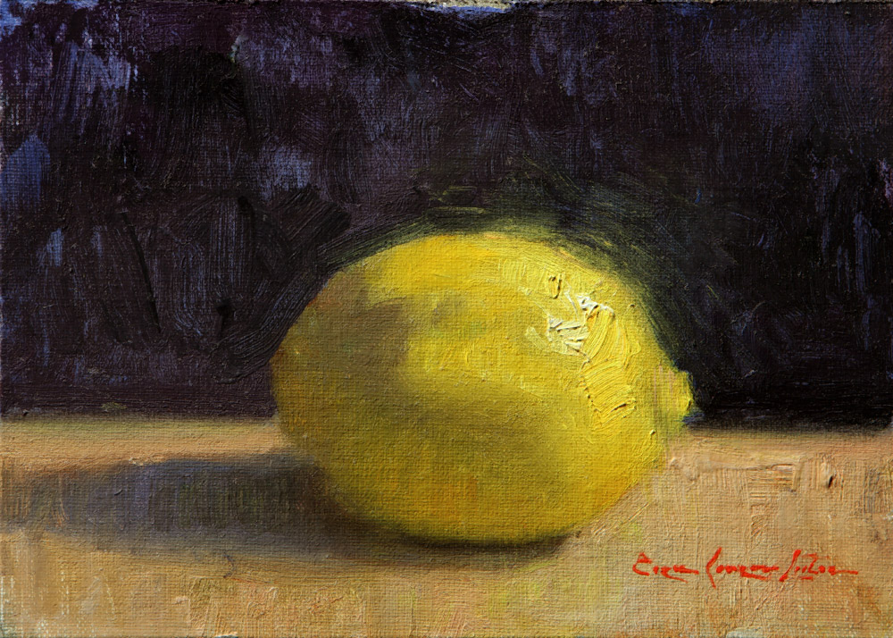"Lemon on Blue 5""x7"" Oil on linen mounted to panel"