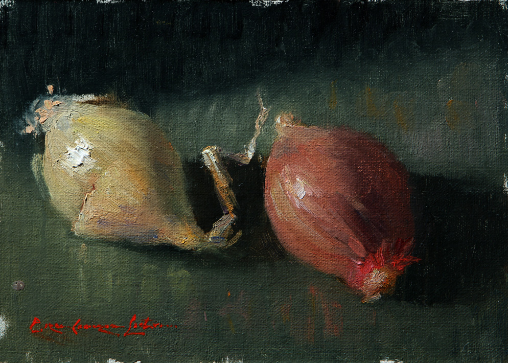 "Boutique Onions5""x7"" Oil on linen mounted to panel"