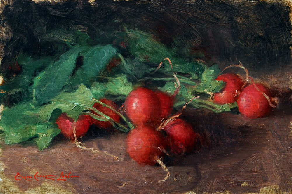 "Radishes 8"" x 12"", Oil on linen mounted to panel"