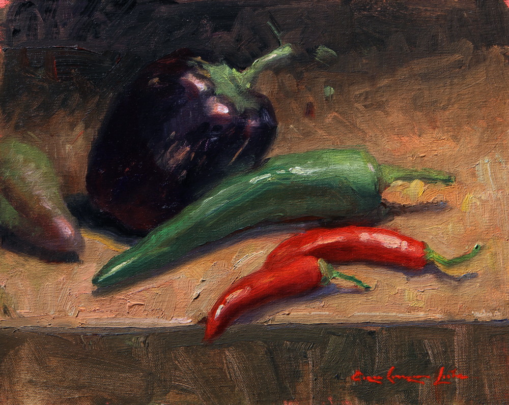 "Range of Peppers; 8"" x 10"""