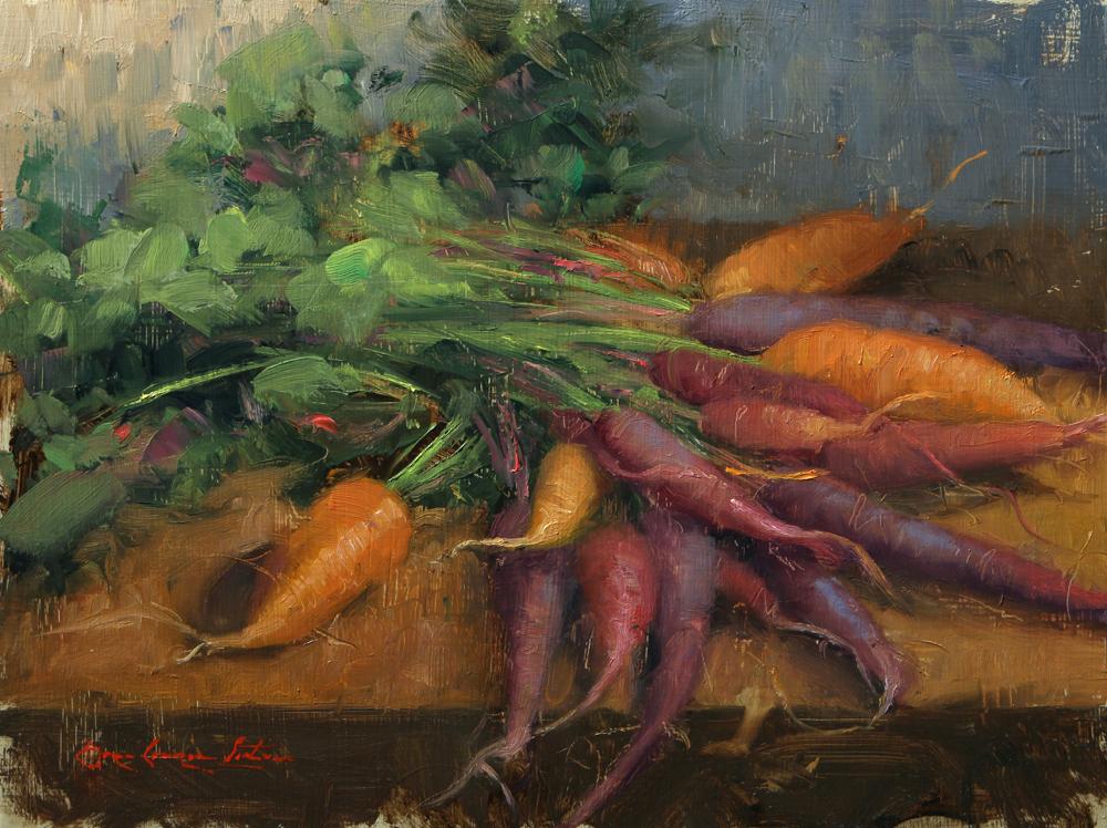 "Rainbow Carrots - 9"" x 12"""