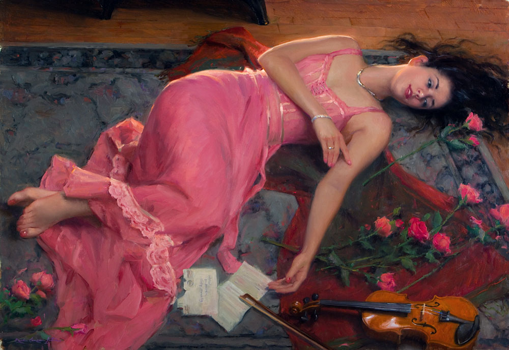"Rose Pink Forever- A Commission- 30"" x 43"", oil on linen, 2014"