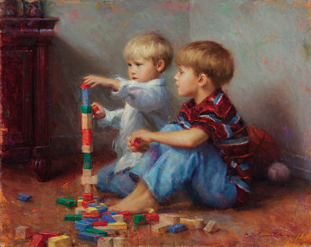 "The Young Engineers- A Commission- 24"" x 36"", oil on linen, 2009"
