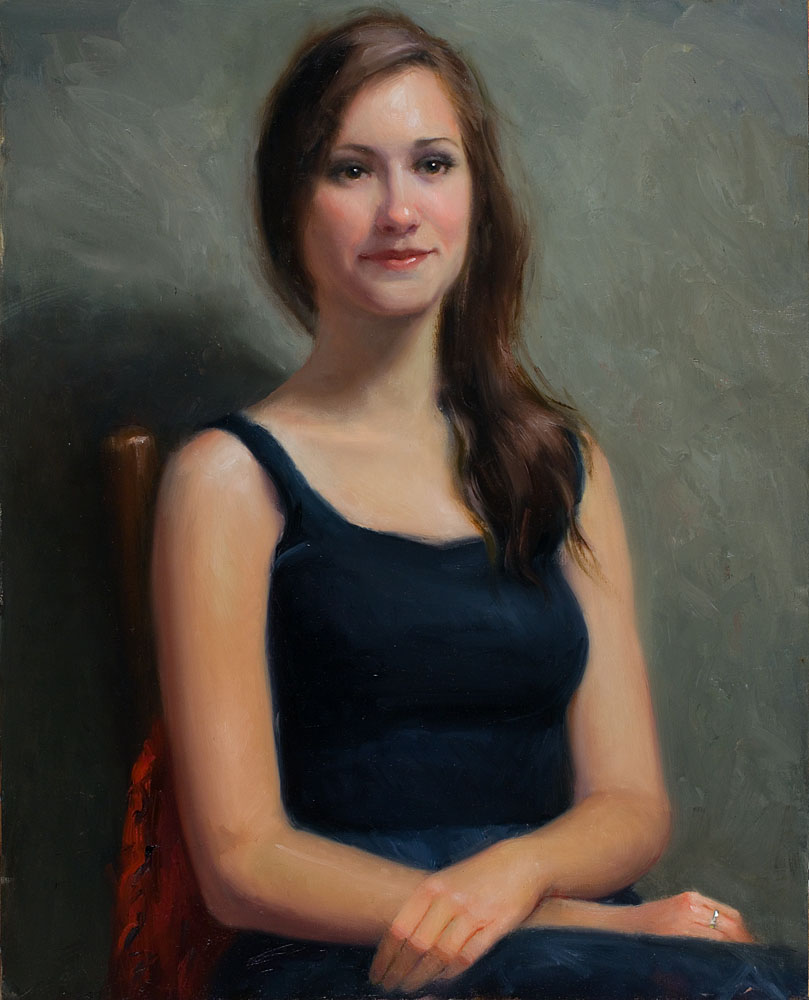 "Portrait of Karina- A Commission- 16"" x 12"", oil on linen, 2014."