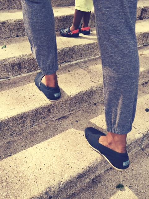 Shoes: Toms (on me), Crocs (on him)