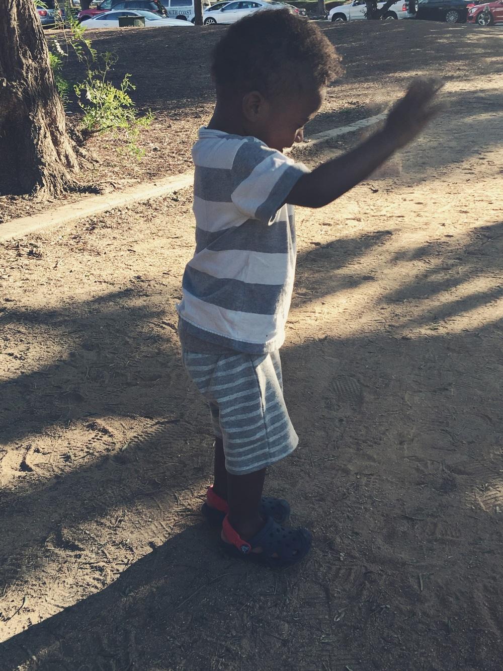 Playing in dirt at La Cuenga Park