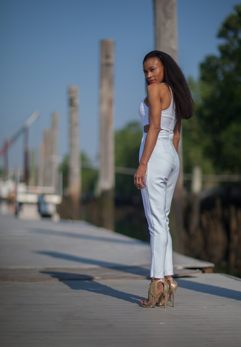 Hunter Bell jumpsuit, Brian Atwood shoes