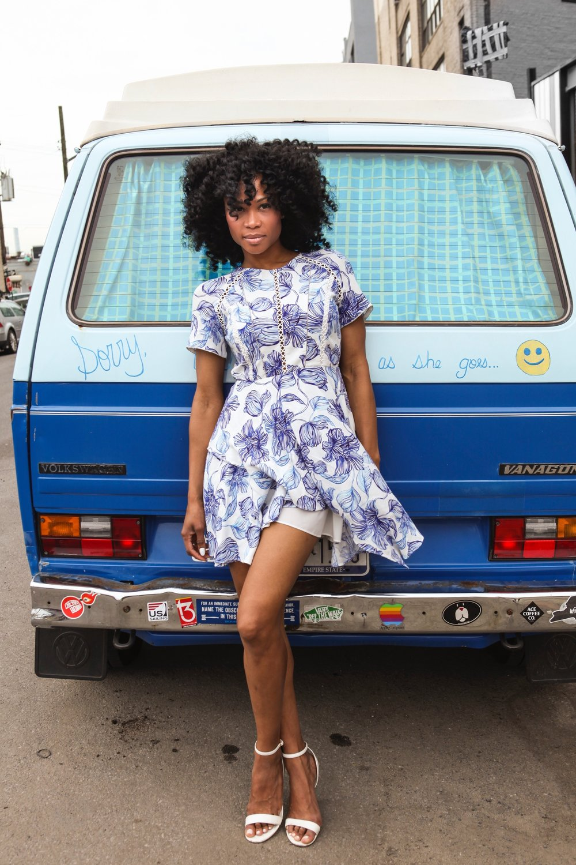 blue and white Skater skirt