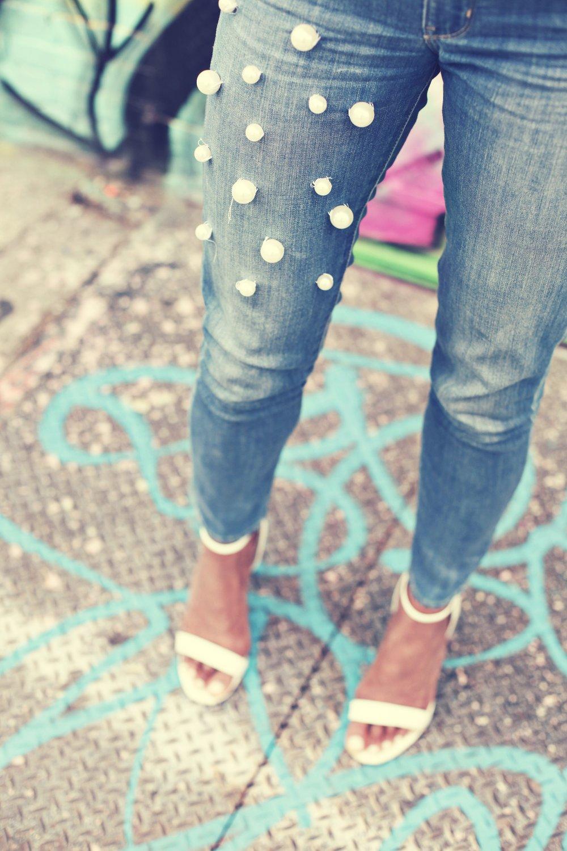 pearl embellished jeans